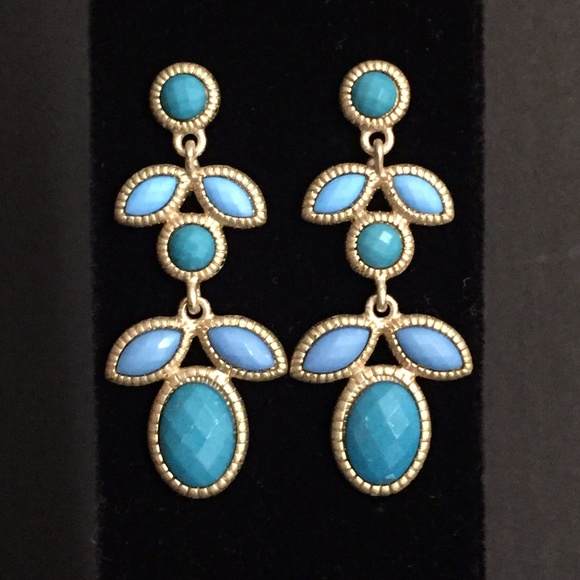 Unknown Jewelry - Brushed Gold and Blues Earrings-New